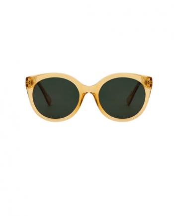 A.Kjaerbede unisex zonnebril model BUTTERFLY kleur geel met groene glazen AKsunnies bril