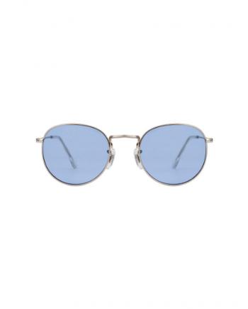 A.Kjaerbede unisex zonnebril model Hello zilver met licht blauwe glazen AKsunnies bril festival