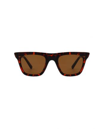 A.Kjaerbede unisex zonnebril model FINE kleur bruin turtoise met groene glazen AKsunnies bril