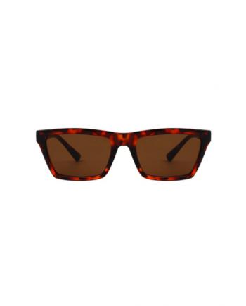 A.Kjaerbede unisex zonnebril model CLAY kleur bruin turtoise met groene glazen AKsunnies bril