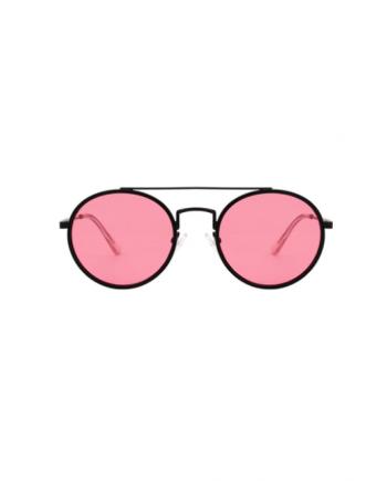 A.Kjaerbede zonnebril model PILOT kleur zwart met roze glazen AKsunnies bril